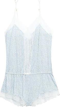 Eberjey Eberjey Woman Lace-trimmed Printed Stretch-modal Jersey Playsuit Sky Blue Size L
