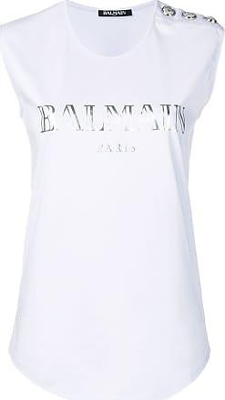 Balmain logo print tank top - Purple