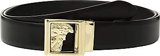 Versace Collection Medusa Plaque Belt (Black/Gold) Mens Belts