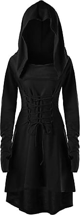 Yvelands Medieval Costume Women Ladies Vintage Renaissance Dresses Gothic Cosplay Witch Dress Corset Lace Up Long Sleeve Hoodies Dress for Halloween Party Even