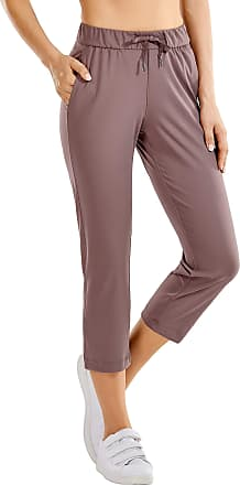 CRZ YOGA Womens On The Travel Mid Rise Capri Joggers Stretch Casual Pants Crop with Pockets Mauve 10