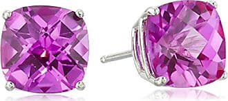 Amazon Collection Sterling Silver Cushion-Cut Checkerboard Created Pink Sapphire Stud Earrings (8mm)