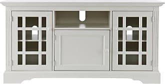 Southern Enterprises Chatsworth TV Media Stand - Fits up to 53 Television - Windowpane Cabinets w/Off White Finish