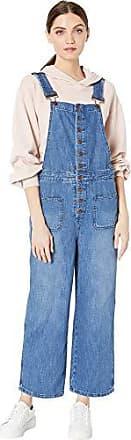 BCBGeneration Womens Button-Front Denim Overalls, Medium Wash, M