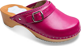 FUTURO FASHION Womens Healthy Natural Genuine Leather Wooden Sole Plain Clogs Unisex Colours Sizes 3-8 UK Pink