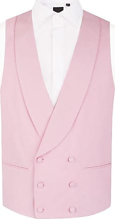 Dobell Mens Pastel Pink Morning Suit Wedding Waistcoat Regular Fit Shawl Lapel Double Breasted-XL (46-48in)