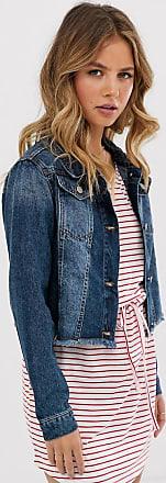 Brave Soul Fitz - Kurze Jeansjacke in mittlerer Waschung-Blau