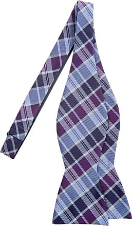 Retreez Modern Tartan Check Styles Woven Microfiber Self Tie Bow Tie - Purple