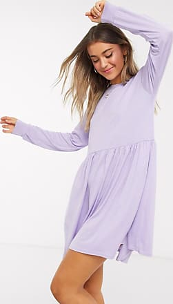 In The Style x long sleeve mini smock dress in lilac-Purple