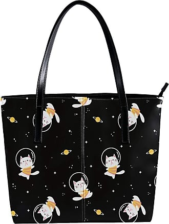 Nananma Womens Bag Shoulder Tote handbag with Cartoon Cat Floating In The Space Area Pattern Zipper Purse PU Leather Top-handle Zip Bags