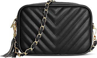 Craze London Womens Quilted Design Small Shoulder Bag,Ladies Evening Wedding Matching Purse Branded Bags For Women (Black)