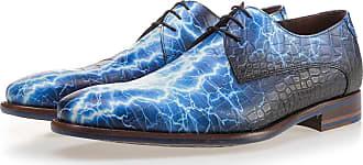 NEU Dunkelblauer Kalbsleder Schnürschuh mit Krokoprint, Business Schuhe, Handgefertigt Floris Van Bommel