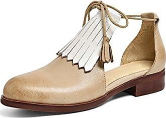Damens Troddel Flats Schnürsenkel Echtes Leder Loafers Flats Einzelschuhe Aprikose 38 CN Honeystore