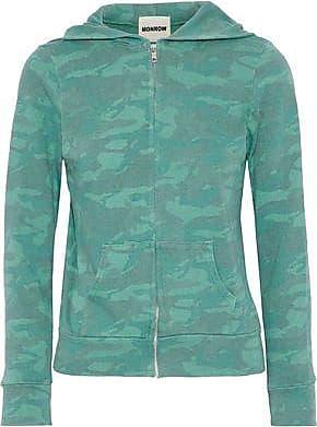 Monrow Woman Printed Jersey Hooded Sweatshirt Jade Size XS Monrow