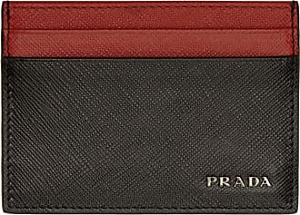 Prada business card holders for men browse 51 items stylight prada black and red bicolor saffiano card holder colourmoves