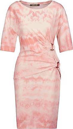Roberto Cavalli Woman Gathered Printed Stretch-crepe Mini Dress Pastel Pink Size 42 Roberto Cavalli