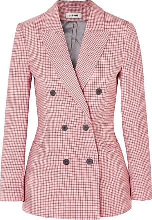 Cefinn Double-breasted Houndstooth Wool-blend Blazer - Pink