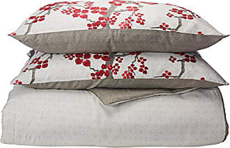 Natori Cherry Blossom King Size Bed Comforter Set - Red, Grey, Cherry Blossom - 4 Pieces Bedding Sets - 100% Cotton Sateen Bedroom Comforters