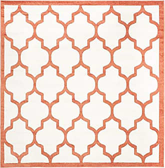 Safavieh Amherst Collection AMT420F Beige and Orange Indoor/ Outdoor Square Area Rug (7 Square)