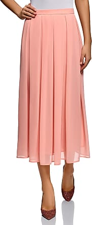oodji Collection Womens Flowing Pleated Skirt, Pink, UK 12 / EU 42 / L