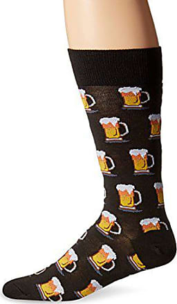 Hot Sox Mens Food and Booze Novelty Casual Crew Socks, Beer (Black), Shoe Size: 6-12