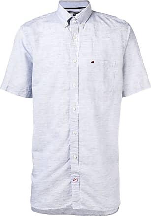 Tommy Hilfiger Camisa de linho com logo bordado - Azul