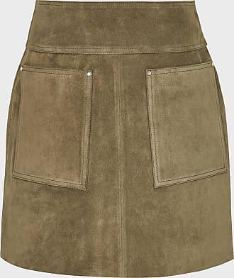 Reiss Elm - Suede Mini Skirt in Khaki, Womens, Size 14