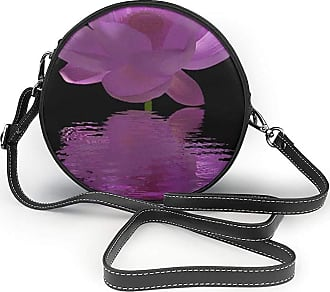 Turfed Water Lily Butterfly Print Round Crossbody Bags Women Shoulder Bag Adjustable PU Leather Chain Strap and Top Zipper Small Handbag Handle Tote