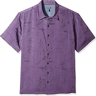 Van Heusen Mens Size Big and Tall Air Tropical Short Sleeve Button Down Poly Rayon Shirt, dusty lilac, Large Tall