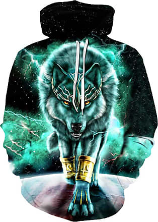 EUDOLAH 3D Prints Pullover Jumpers Breathable Hoodies Patterned Sweatshirts for Mens Size S M L XL 2XL 3XL (Tag L/XL, Wolf Green)
