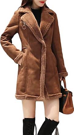 H&E Womens Winter Lapel Fleece Lined Zipper Faux-Suede Parka Coat Jacket Caramel M