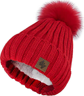 4sold Mens Womens Beanie Warm Winter Cable Knitted Bobble Hat Plain Ski Pom Wooly Cap Full Cosy Fleece Liner (Red Red)