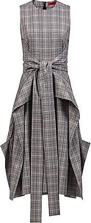 993cc0c27c4 HUGO BOSS Robe mi-longue à carreaux avec jupe à effet cascade et noeud349.