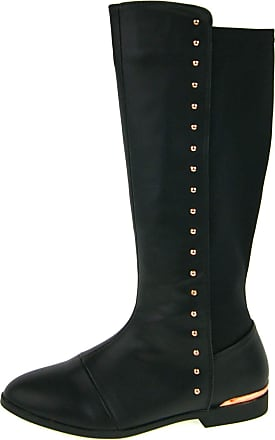 Lora Dora Girls Knee High Stretch Boots Studs Black UK 11.5
