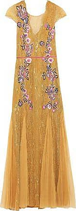 Marchesa Marchesa Notte Woman Pleated Tulle And Embroidered Lace Gown Gold Size 0