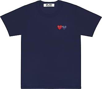 Comme Des Garçons Spielen Sie das Comme des Garçons T-Shirt mit Double Heart (Navy) P1T226 - XL - Blue