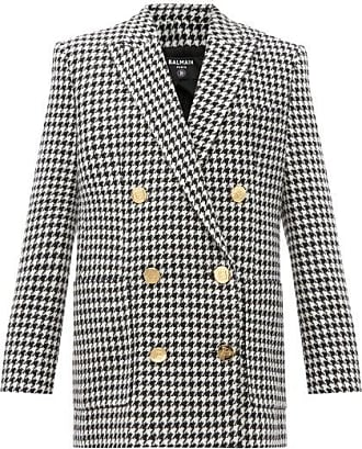 Balmain Double-breasted Houndstooth Wool-blend Jacket - Womens - Black White