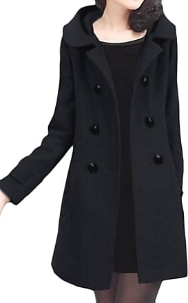 H&E Womens Slim Double Breasted Wool-Blend Hoodie Thick Pea Coat Black Large