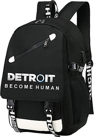 Haililais Detroit Become Human Backpacks Solid Color Backpack Korean Version Of The Simple College Student Bag Mountaineering Backpack (Color : Black02, Size :