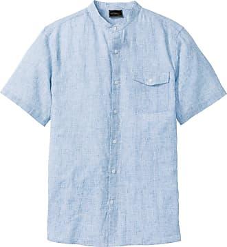 Bonprix Kurzarmhemd mit Leinen blau, bonprix