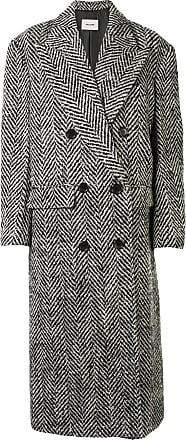 We11done herringbone double breasted coat - Black