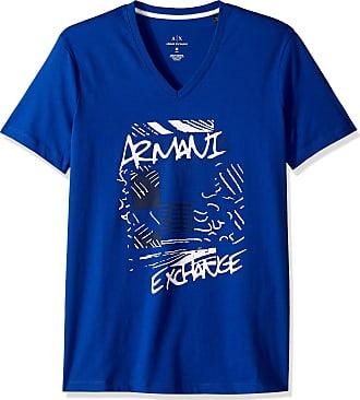 A X Armani Exchange A X Mens Short Sleeve V-Neck Abstract Print T-Shirt, Marine, XS