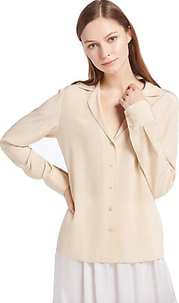 LilySilk Womens 100 Silk Blouse V Neck Long Sleeve Ladies Top Shirt 18 Momme Pure Silk Shifting Sand Size 20-22/XXL