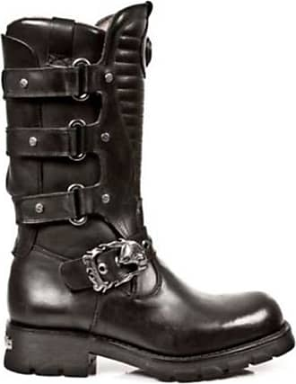 New Rock Newrock 7604-S1 Matellic Black Strap Gothic Boots Western Metal Shoes (UK 12 / EU 46)