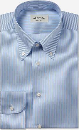 Apposta Camicia righe azzurro 100% cotone wrinkle free twill, collo stile button down