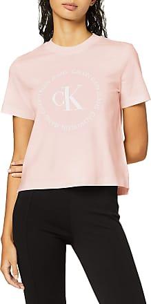 Calvin Klein Jeans Womens CK Round Logo Straight TEE T - Shirt, Pink (Keepsake Pink Tir), 8 (Size:S)