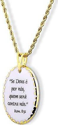 Design Medalhas Pingente Medalha versículo borda ouro Se Deus é Por Nós Quem Será Contra Nós ouro