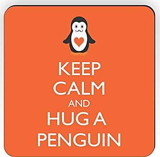 Rikki Knight Rikki Knight Keep Calm and Hug a Penguin Design Square Fridge Magnet, Orange