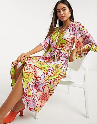 Liquorish midi wrap dress in bright tropical-Multi