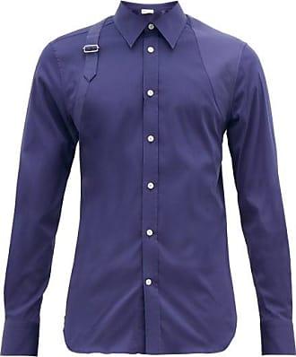 Alexander McQueen Alexander Mcqueen - Harness Panelled Cotton-blend Shirt - Mens - Indigo